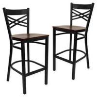 "Flash Furniture ""X"" Back Metal/Wood Bar Stools in Mahogany/Black (Set of 2)"