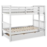 Forest Gate Charlotte Solid Wood Twin Bunk Bed with Trundle in White