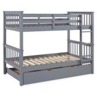 Forest Gate Charlotte Solid Wood Twin Bunk Bed with Trundle in Grey