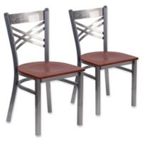Flash Furniture Clear Coated Metal Chairs with Cherry Wood Seats (Set of 2)