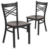 Flash Furniture X-Back Black Metal Chairs with Walnut Wood Seats (Set of 2)