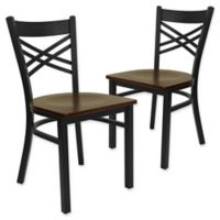 Flash Furniture X-Back Black Metal Chairs with Mahogany Wood Seats (Set of 2)
