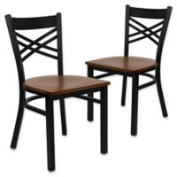 Flash Furniture X-Back Black Metal Chairs with Cherry Wood Seats (Set of 2)
