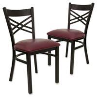 Flash Furniture X-Back Black Metal Chairs with Burgundy Vinyl Seats (Set of 2)
