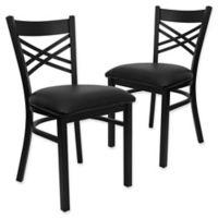 Flash Furniture X-Back Black Metal Chairs with Black Vinyl Seats (Set of 2)