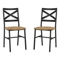 Forest Gate Wheatland XinBack Metal Wood Dining Chair in Barnwood (Set of 2)