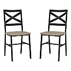 Forest Gate Wheatland Metal X-Back Wood Dining Chairs in Driftwood (Set of 2)