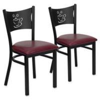Flash Furniture Metal Coffee Back Chair in Black Metal/Burgundy Vinyl (Set of 2)
