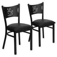 Flash Furniture Metal Coffee Back Chair in Black Metal/Black Vinyl (Set of 2)