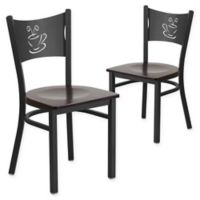 "Flash Furniture ""Coffee"" Metal/Wood Dining Chairs in Walnut/Black (Set of 2)"