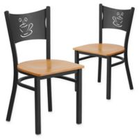 """Flash Furniture """"Coffee"""" Metal/Wood Dining Chairs in Natural/Black (Set of 2)"""