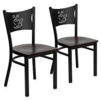 """Flash Furniture """"Coffee"""" Metal/Wood Dining Chairs in Mahogany/Black (Set of 2)"""