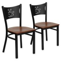 "Flash Furniture ""Coffee"" Metal/Wood Dining Chairs in Cherry/Black (Set of 2)"