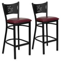 Flash Furniture Coffee Back Stool in Burgundy/Black (Set of 2)