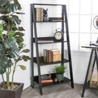 "Forest Gate 55"" Modern Wood Ladder Bookshelf in Black"