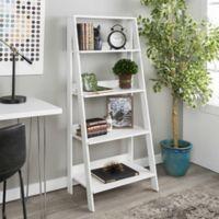 """Forest Gate 55"""" Modern Wood Ladder Bookshelf in White"""