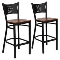 Flash Furniture Wood Seat Coffee Back Stools in Cherry/Black (Set of 2)