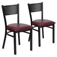 Flash Furniture Metal Grid Back Chair in Black Metal/Burgundy Vinyl (Set of 2)