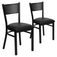 Flash Furniture Metal Grid Back Chair in Black Metal/Black Vinyl (Set of 2)