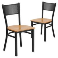 Flash Furniture Grid Back Metal/Wood Dining Chairs in Natural/Black (Set of 2)