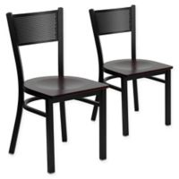 Flash Furniture Grid Back Metal/Wood Dining Chairs in Mahogany/Black (Set of 2)