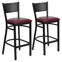 Flash Furniture Metal Grid Back Stool in Burgundy/Black with Vinyl Seat Cushions (Set of 2)