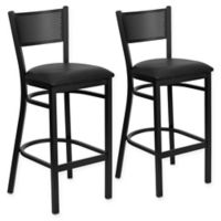 Flash Furniture Metal Grid Back Stool in Black with Vinyl Seat Cushions (Set of 2)