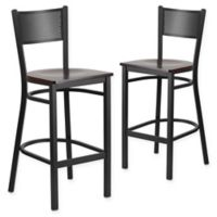 Flash Furniture Grid Back Stool in Walnut/Black (Set of 2)