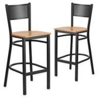 Flash Furniture Grid Back Stool in Natural/Black (Set of 2)