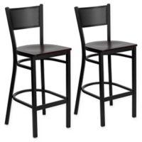 Flash Furniture Grid Back Stool in Mahogany/Black (Set of 2)