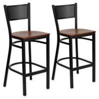 Flash Furniture Grid Back Stool in Cherry/Black (Set of 2)