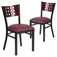 Flash Furniture Cutout Back Black Metal and Wood Chairs with Burgundy Vinyl Seats (Set of 2)