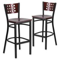 Flash Furniture Cutout Back Black Metal and Wood Bar Stools in Mahogany (Set of 2)
