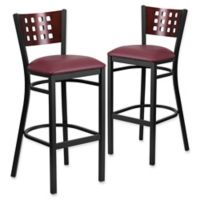 Flash Furniture Cutout Back Black Metal Bar Stools with Burgundy Vinyl Seats (Set of 2)