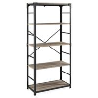 "Forest Gate 64"" Wheatland Industrial Modern Wood Metal Bookshelf in Driftwood"