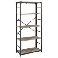 "Forest Gate 64"" Wheatland Industrial Modern Wood Metal Bookshelf in Driftwood"