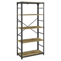 "Forest Gate 64"" Wheatland Industrial Modern Wood Metal Bookshelf in Barnwood"