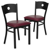 Flash Furniture Circle Back Chairs in Burgundy/Black (Set of 2)