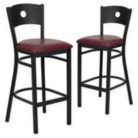 Flash Furniture Circle Back Bar Stools in Burgundy/Black (Set of 2)