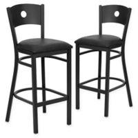 Flash Furniture Circle Back Bar Stools in Black (Set of 2)