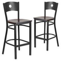 Flash Furniture Circle Back Bar Stools in Walnut/Black (Set of 2)