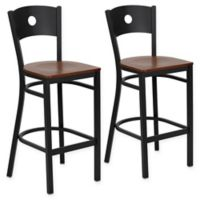 Flash Furniture Circle Back Bar Stools in Cherry/Black (Set of 2)