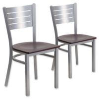 Flash Furniture Slat Back Silver Metal Chairs with Mahogany Wood Seats (Set of 2)