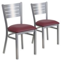 Flash Furniture Slat Back Silver Metal Chairs with Burgundy Vinyl Seats (Set of 2)
