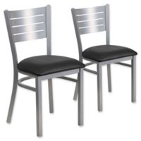 Flash Furniture Slat Back Silver Metal Chairs with Black Vinyl Seats (Set of 2)
