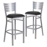 Flash Furniture Metal Slat Back Stool in Silver with Black Vinyl Seat (Set of 2)