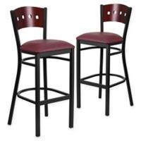 Flash Furniture Square Back Padded Bar Stool in Mahogany/Burgundy (Set of 2)