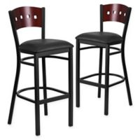 Flash Furniture Square Back Padded Bar Stool in Mahogany/Black (Set of 2)