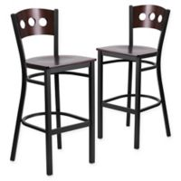 Flash Furniture Circle Back Metal Bar Stools with Walnut Wood Seats (Set of 2)