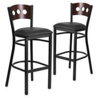 Flash Furniture Circle Back Metal and Walnut Wood Bar Stools with Black Vinyl Seats (Set of 2)